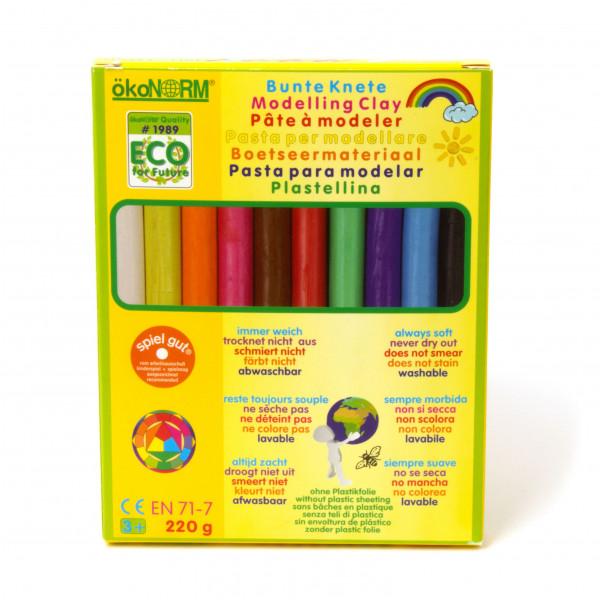 Bunte Knete 10 Farben, 220 g