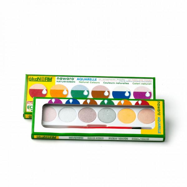 Wasserfarbkasten klein 6 Naturfarben
